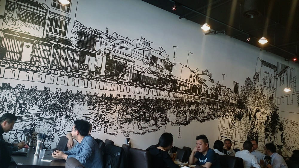 Straits of Malacca Restaurant, Wall Mural (ink) (photo credit: yelp.com.au)